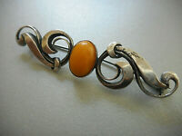 Vintage Sterling Silver Oval Egg Yolk Amber Bar Brooch Pin  29-1C