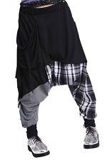 Hip-hop Splice Lattice Women's Sweat Pants Double Bag Harem Baggy Cotton bl H9W8