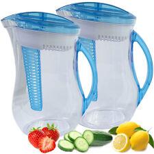 2pk Infuser Filter BPA-Free Water Pitcher Fruit Flavor Infused Iced Tea Set Lot