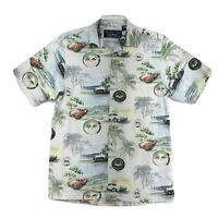 Corvette Shirt Classic Car Shirt Mens Size Medium Green Short Sleeve Button Up