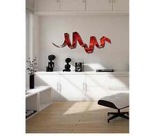 Jon Allen Metal Art 3D Red Wall Twist Sculpture Accent Modern Abstract Decor