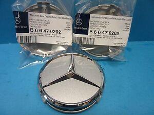 1 Wheel Hub Cap W. Mercedes Benz Emblem OEM # 2204000125 Alloy Wheel Silver