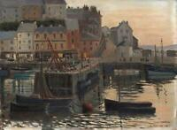 WILLIAM ATHERTON CATHCART Oil Painting BRIXHAM HARBOUR 'THE END OF THE DAY'