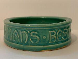 "Vintage McCoy Pottery Glazed Green Dog Bowl Dish ""TO MAN'S BEST FRIEND HIS DOG"""