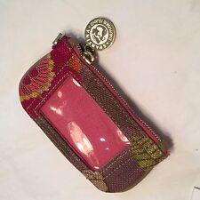 Vtg Daufuskie Island Southern South Carolina Coin Purse Wallet Leather Linen