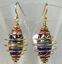 """Handmade Caged Bead Drop Earrings multi-color 1.25 x 1/2"""" """" French Wire"""