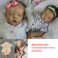 17in Unpainted Reborn Kits Vinyl Head +3/4 Arms+Legs+Cloth Body DIY Baby Dolls