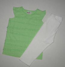 HANNA ANDERSSON GREEN RUFFLE TOP WHITE RIBBED LEGGINGS GIRLS 120 SUMMER COTTON