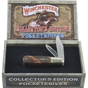 Winchester Brown Checkered Bone Collectors Edition Barlow Pocket Knife