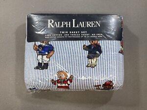 Ralph Lauren Polo Bear Twin Sheet Set Blue Stripe NOS