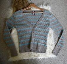 White Stuff Jumper Cardigan Size 12 Stripe Blue Grey Long Sleeve V Neck Buttons