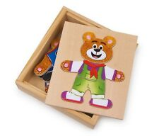 Dress-Up Bear Nico Wooden Puzzles 6 different clothes NEW