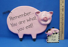 Coyne's & Company 2004 Pink Pig Kitchen Wall Sign And Recipe Holder Lot of 2