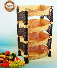 Galaxy HQ 4 Tier Plastic Fruit Vegetable Kitchen Bath Storage Rack Trolley LBS