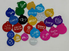 Round  pet ID Tags, custom engraved Dog/Cat personalized ID tag anodize-aluminum