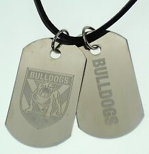 CANTERBURY BULLDOGS NRL LOGO MENS DOUBLE DOG TAG S/S LEATHER NECKLACE JEWELLERY