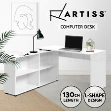 Artiss Computer Desk Office Corner Study L-shape Table Workstation Shelf Storage