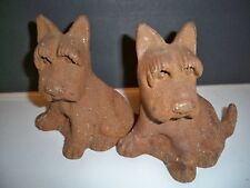 Pair Cast Iron Scottish Terrier Vintage Bookends Doorstops-Never Painted !