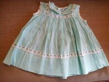 Vintage Nannette Baby Doll Dress Teal Green Blue Flower Trim Sleeveless