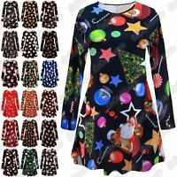 New Ladies Kids Girls Snowman Christmas Print Skater Flared Mini Swing Dress Top