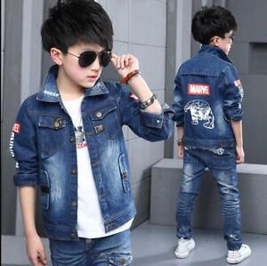 Toddler Kids Boys Denim Jacket Fashion Jeans Coat Tops Size 3-11 Years