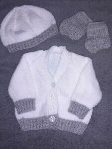 Hand Knitted White and Grey Prem/New Baby/16in chest/ Cardigan Booties and Hat
