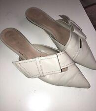 Zara Women White Leather Pointy White Mules size 8