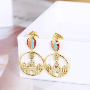 Kate Spade New York Golden hoop Hot air balloon Castle inlaid Diamond Earrings