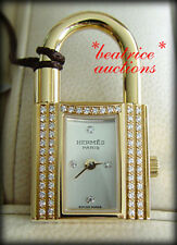 NEW Hermes DIAMOND Gold KELLY Watch for Bag CHARM LOCK