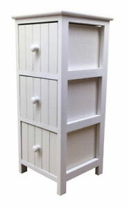 Quality White Bathroom Cabinet Slim 3Drawer Vanity Storage Unit Wooden Furniture