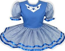 READY 2 WEAR | Blue and White Gingham Adult Baby Sissy Little Girl Dress LEANNE