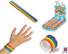 Rainbow Slap Band Snap Bands Bracelet Wristband Kids Party Bag Filler T38205 UK