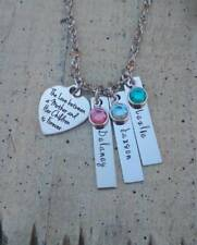 Mothers day childrens Name Birthstone Bar Necklace Custom Personalized Mom gift