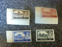 GB QEII POSTAGE STAMPS SG.536-9 1955-8 CASTLES 3x MARGINAL UN MOUNTED MINT