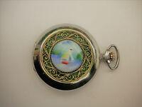 Molnija Porcelain Painting & Filigree Savonnette Hunter Pocket Watch Taschenuhr