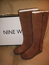 NEW Womens 8 NINE WEST Gladys Zip-Up Brown SUEDE Fleece lined Tall Winter Boots