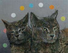 "GREY CATS 16x20"" Oil Painting Pet Portrait Two Gray Feline Original Art M.Creese"