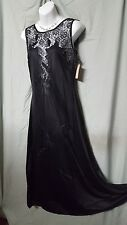 """VENTURA LONG SEXY BLACK W/ LACE NYLON NIGHTGOWN SIZE LARGE GIFT 44"""" BUST"""