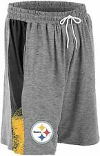 Zubaz NFL Football Mens Pittsburgh Steelers Gray Space Dye Shorts