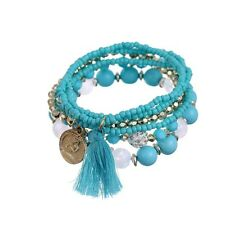 Fashion Womens Bohemian 1 Set Multilayer Coin Acrylic Beads Bracelet Xmas Gifts Blue