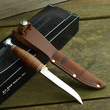 Ka-Bar Little Fin Hunter Stacked Leather Handle Fixed Blade Knife + Sheath 1226