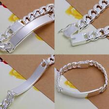 925 Silver Jewelry Men's Cuban link ID bracelet Bangle Chic bracelet Decoration