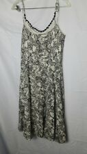 Ann Taylor Loft Size 12 Dress Womans Floral Print Black White Spaghetti Strap