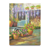NY Art -  Flower Garden 36x48 Large Impressionist Oil Painting on Canvas - Sale