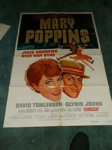 """MARY POPPINS(R-80)JULIE ANDREWS ORIG ONE SHEET POSTER 27""""BY41"""" EXCELLENT PLUS"""