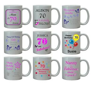 PERSONALISED 70TH BIRTHDAY GIFT FOR HER AGE 70 GRAN MUM MAM SISTER AUNT MUG CUP