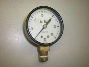 """US Gauge Vacuum Gauge - 0-30 Inches of Hg - 1/4""""NPT - Tests OK"""