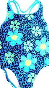 NEW GIRLS SIZE 6 SPEEDO ONE PIECE POP FLOWERS TURQUOISE RACERBACK SWIMSUIT SUIT
