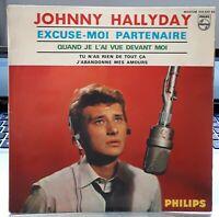 "Johnny HALLYDAY   "" Excuse moi partenaire ""  7'  EP 45 tours  F. Richir VG++/ EX"