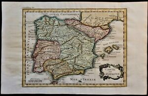 ANTIQUE MAP OF THE KINGDOM OF SPAIN 1742